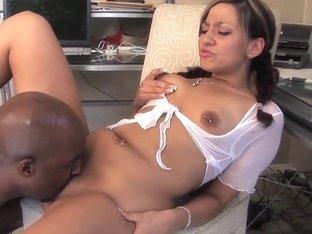Soreal with pierced nipple rides on black bull
