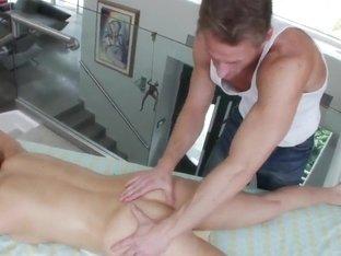 Hot brunette Teal Conrad gets massaged in close up