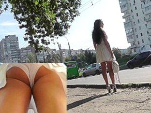 Gorgeous bombshell in high heels on upskirt camera