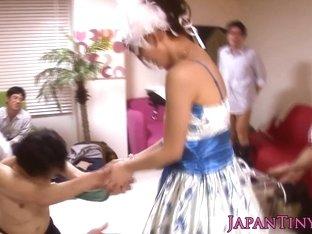 small oriental pornstar Mayu Nozomi jizz covered