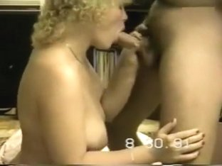 Gorgeous wife delivers a blowjob and handjob all at once
