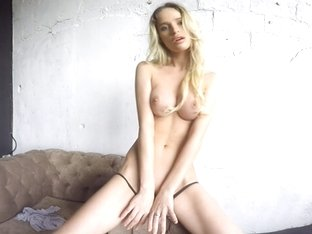 Sexy Blonde Strips and Shows Her Tight Body