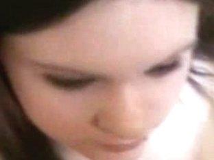 Brunette amateur girl gets her first massive facial