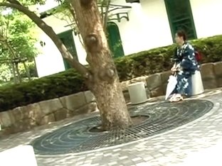 Sharking video shows a Japanese chick in a kimono in a park