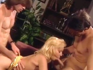 Golden-Haired sucks pecker and double teamed