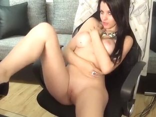 Brunette 01Amiana removes sexy lingerie and masturbates