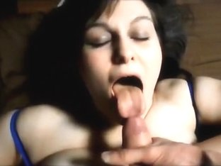 Obese youthful gorgeous wife getting fed some cum
