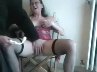 My busty older wifey acquires her bald cookie drilled with toy