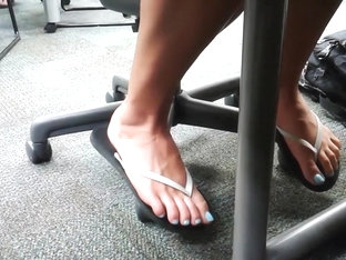 Candid Feet Women with Blue Toenails Compilation