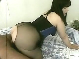 Hot big Asian ass in nylon pantyhose handling pounding
