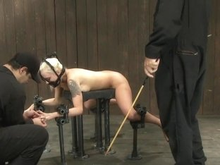 Hot Blond BDSM Slave get bound in hard metalBrutally fucked by James Dean & Isis Love