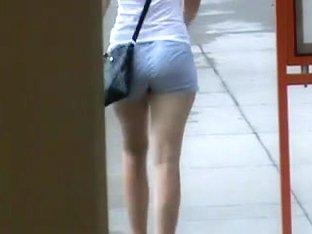White girl booty jiggle in shorts