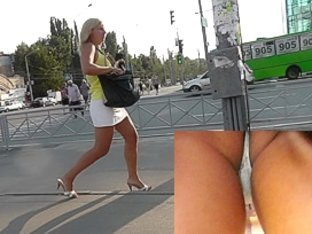 Upskirt panties of the tanned blonde mature lady
