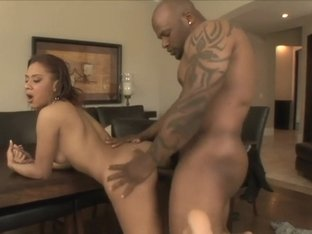 Ebony hottie with a marvelous ass Holly Pink goes wild for a black rod