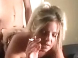 Trashy blonde nympho with small tits likes it from behind