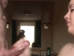 Nice slut sucked man's dick and her huge tits were covered in cum