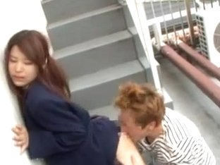 Pigtailed Japanese student gets her pussy satisfied