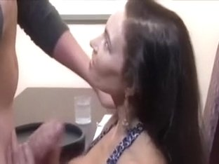 Hot wife of my friend sucks waiter's ramrod at the cafe as I film her