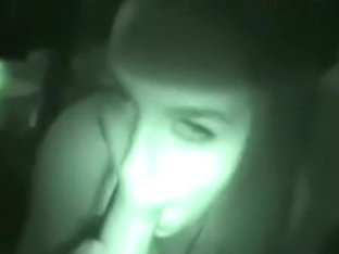 Hot girl gives her bf a nightvision blowjob and swallows