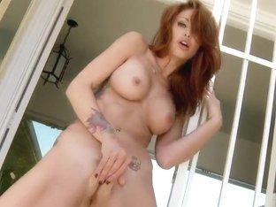 Busty redhead Monique Alexander masturbates