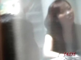 Blowjob and Japanese hardcore fuck seen through the window