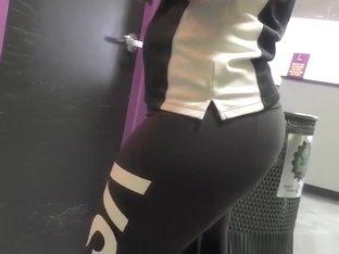 Curvy chick wearing black sports pants