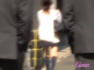College girl got skirt sharked on the pedestrian crossing