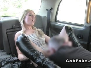 Fake taxi driver eats blonde in boots