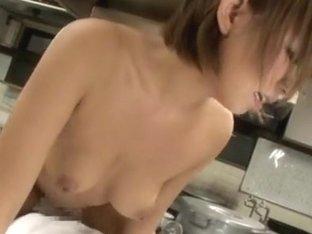 Japanese AV Model gets a hard fucking in the kitchen