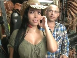 Natasha shows her huge boobs and her bubble butt to the shop owner