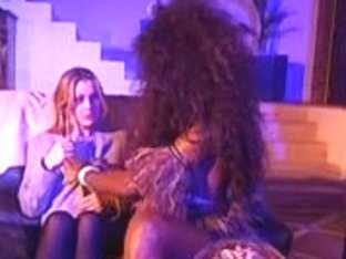 Interracial lesbian sex with big tittied horny babes