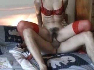 Red bra no panties