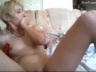 Touching my wet cunt with a dildo