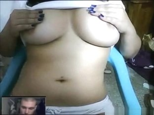 Hot busty latina flashes her big tits for a fake guy online