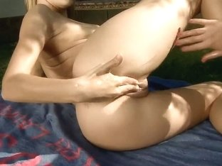 Berinice's friend inserts a monster dildo in her pussy
