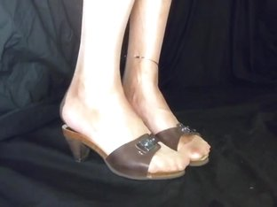 Sissy legs and soles in transparent stockings with mules