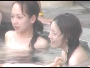 japan public spa young girls nature bush