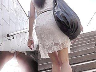 Pleasant white strap panty upskirt