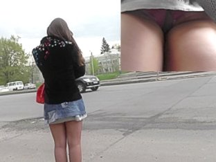 Hot upskirt shots of the lonely girl at the bus stop