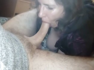 French brunette mature eatin...