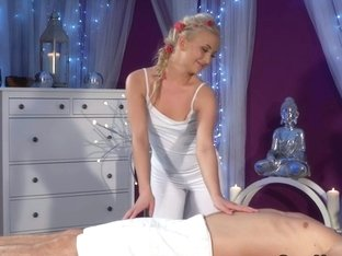 Blonde Euro masseuse rides huge dick