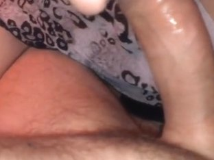 Giving a nice and sloppy blowjob