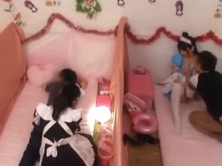 Amazing Japanese AV model in white stockings gets banged