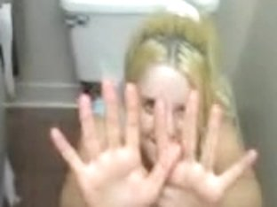 Nice blonde teen caught in a toilet