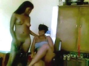 Ebony lesbian girls lapdance and eat eachother's pussy