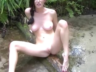 My girlfriend masturbating outside