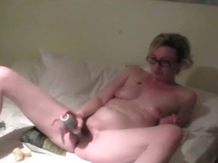 Nerdy girl warms up with a vibrator and hairbrush and fucks doggystyle