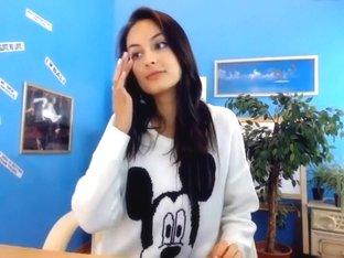 Fabulous youthful dark brown on web camera