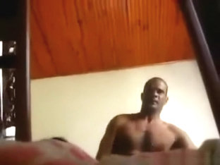 White girl sucks her black bf's cock and watches herself get doggystyle fucked in the mirror