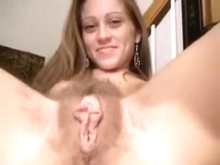 My awesome GF plays with her hairy pussy in close up solo video